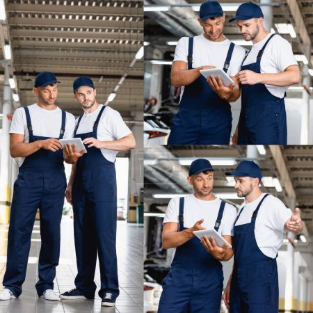 Photo for Collage of handsome mechanics in uniform looking at digital tablet in car service - Royalty Free Image