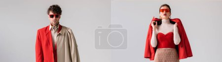 collage of fashionable man and woman in sunglasses posing isolated on grey, panoramic crop