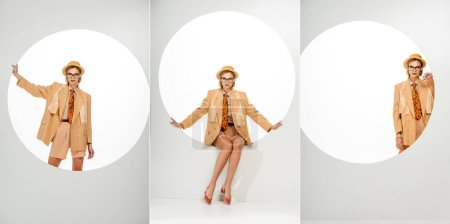 Photo for Collage of stylish model in beige blazer and straw hat posing beside round hole on white background - Royalty Free Image