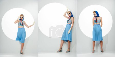Collage of young stylish woman posing near circle on white background
