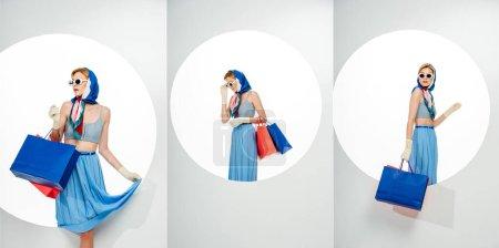 Photo pour Collage de la jeune femme élégante posant avec des sacs à provisions rouges et bleus près du trou rond sur fond blanc - image libre de droit
