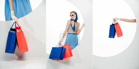 Photo pour Collage de fille élégante tenant des sacs à provisions rouges et bleus à côté du trou rond sur fond blanc - image libre de droit