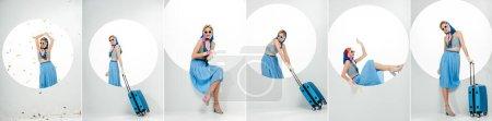 Photo pour Collage de fille élégante posant sous confettis tombant, avec valise bleue et étiquettes de prix sur les vêtements près du cercle sur fond blanc - image libre de droit