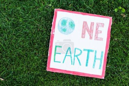 Widok z góry tabliczki z jednym napisem ziemi na trawie, koncepcja ekologii