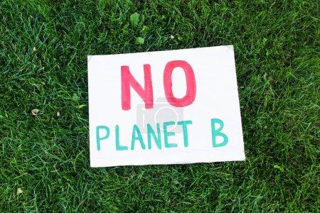 Vue du dessus de la plaque sans lettrage planète b sur herbe à l'extérieur, concept d'écologie