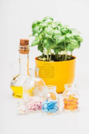 Photo pour Foyer sélectif de la plante verte en pot de fleurs près de pilules dans des bouteilles en verre et huile essentielle sur fond blanc, concept de naturopathie - image libre de droit