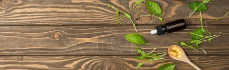 Photo pour Vue du dessus des pilules dans la cuillère, herbes vertes et bouteille sur la surface en bois, concept de naturopathie - image libre de droit