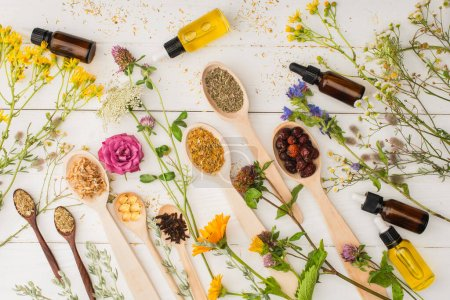 top view of herbs in spoons near flowers and bottles on white wooden background, naturopathy concept
