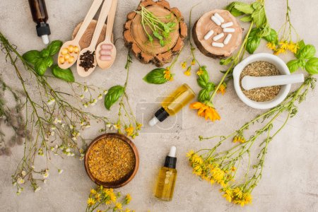top view of wildflowers, herbs, green leaves, mortar with pestle, bottles and pills in wooden spoons on concrete background, naturopathy concept