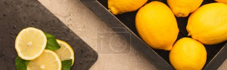 Photo for Top view of whole yellow lemons in box and sliced on board with mint green leaves on beige concrete surface, panoramic shot - Royalty Free Image