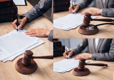 Photo pour Collage du juge signant l'accord de police d'assurance près du marteau et des livres - image libre de droit