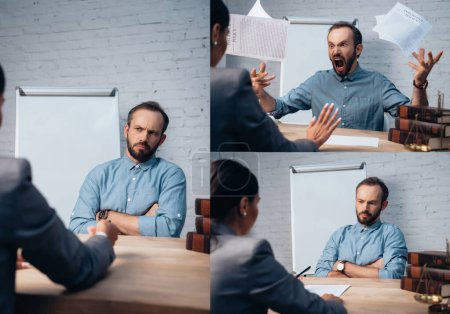 Photo for Collage of bearded client sitting with crossed arms and throwing in air insurance policy documents near lawyer - Royalty Free Image