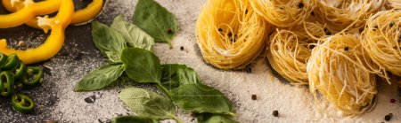 rohe italienische Capellini mit Gemüse auf Mehl auf schwarzem Hintergrund, Panoramaaufnahme