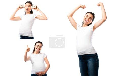 Photo pour Collage de la femme enceinte touchant le ventre, montrant pouce vers le haut et tenant des cubes en bois avec lettrage bébé isolé sur blanc - image libre de droit