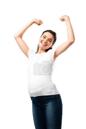 young pregnant woman in white t-shirt standing with hands above head isolated on white