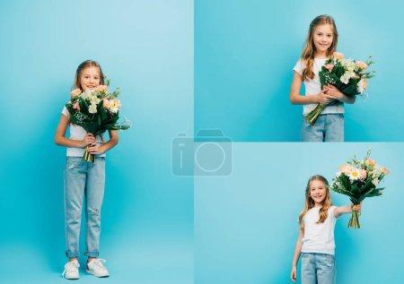 Photo pour Collage de fille en t-shirt blanc et jean tenant bouquet de fleurs et regardant la caméra sur bleu - image libre de droit