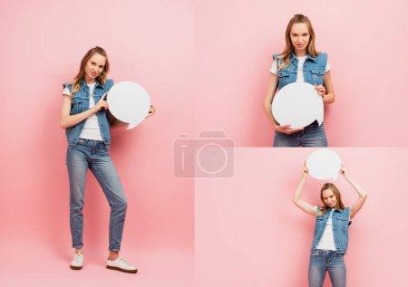 Photo pour Collage de femme en denim tenant bulle de pensée tout en regardant la caméra sur rose - image libre de droit