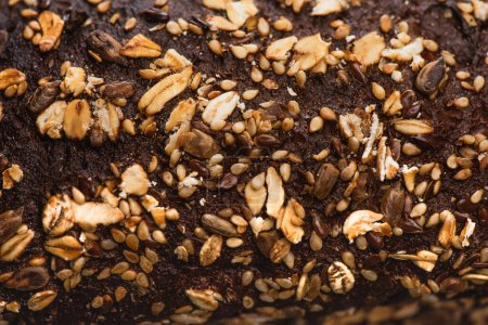 Photo for Close up view of fresh baked bread crust with cereal - Royalty Free Image