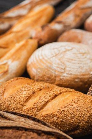 Selektiver Fokus auf frisch gebackene Brotlaibe