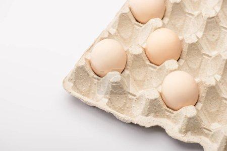 Photo pour Vue rapprochée des œufs de poulet frais dans un bac à œufs en carton sur fond blanc - image libre de droit