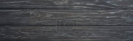Photo for Top view of grey wooden surface, panoramic shot - Royalty Free Image