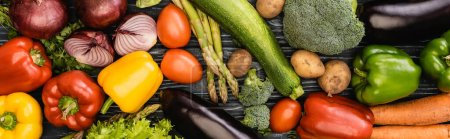 Photo for Top view of fresh colorful tasty vegetables, panoramic shot - Royalty Free Image