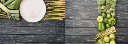 Photo pour Collage de fruits et légumes verts frais sur une surface en bois - image libre de droit