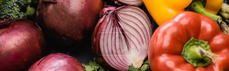 Photo for Close up view of fresh ripe colorful vegetables, panoramic shot - Royalty Free Image