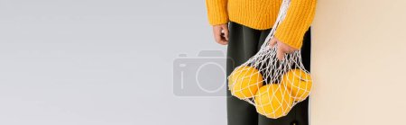 Photo for Cropped view of fashionable girl in autumn outfit posing with grapefruits in string bag on beige and white background, panoramic shot - Royalty Free Image