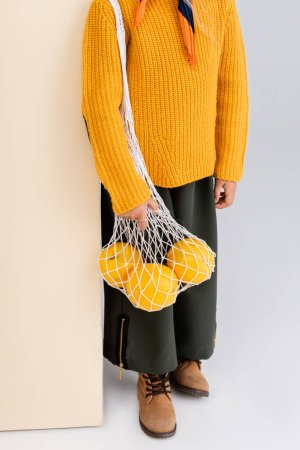 Photo for Cropped view of fashionable girl in autumn outfit posing with grapefruits in string bag on beige and white background - Royalty Free Image