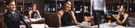 Photo for Collage of elegant woman holding glass of wine, and paying with credit card and smartphone near boyfriend in restaurant - Royalty Free Image