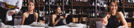 Collage de sommelier vertiendo vino cerca de mujer elegante en restaurante
