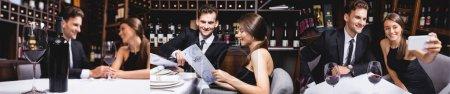 Collage de pareja elegante mirando el menú, tomándose de la mano y tomando selfie en el restaurante
