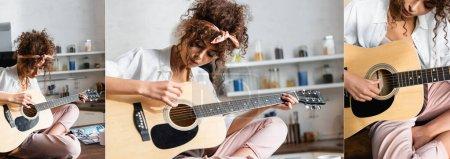 Photo pour Collage de jeune femme bouclée jouant de la guitare acoustique à la maison - image libre de droit