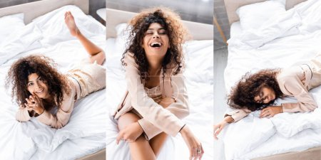collage of curly woman in pajama laughing and resting on bed