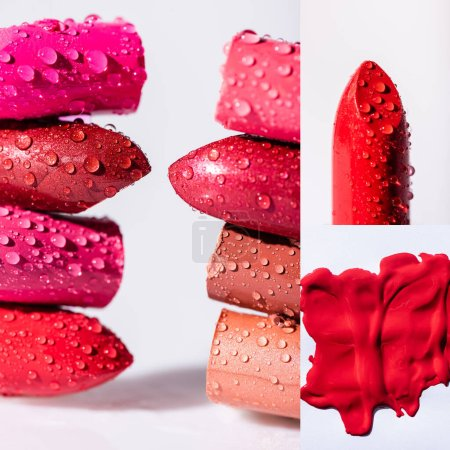 close up view of wet colorful lipsticks on white background, collage