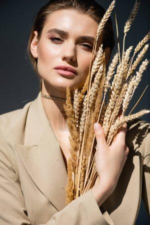junge Frau im beigen Blazer blickt in die Kamera in der Nähe von Weizenstacheln auf dunkelgrau