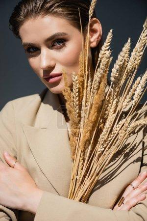 femme en blazer beige regardant la caméra et tenant des épillets de blé sur gris foncé