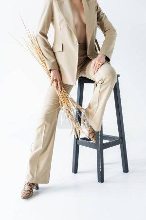 vue recadrée du modèle sexy en costume assis sur les selles et tenant des épillets de blé sur blanc