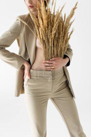 abgeschnittene Ansicht von sexy Model im beigen Anzug mit Weizenstacheln posiert isoliert auf weiß