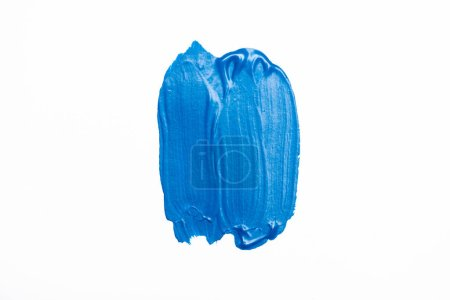 Photo for Top view of abstract colorful blue paint brushstrokes on white background - Royalty Free Image