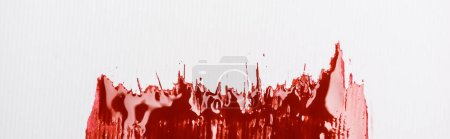 Photo for Top view of colorful red paint brushstroke on white background, panoramic shot - Royalty Free Image