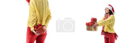 Photo for Collage of pleased woman in santa hat and red scarf holding present isolated on white - Royalty Free Image