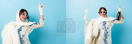 Photo for Collage of stylish woman in sunglasses holding glass and bottle of champagne on blue - Royalty Free Image