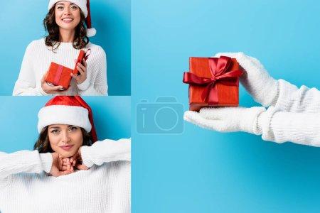 Photo pour Collage de jeune femme brune en santa chapeau et gants tenant cadeau sur bleu - image libre de droit