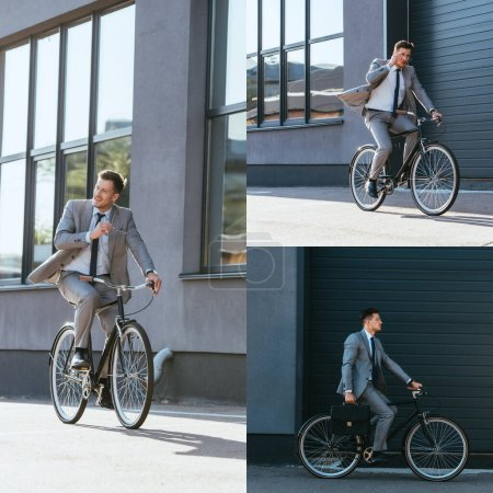Collage of smiling businessman with eyeglasses riding bicycle outdoors