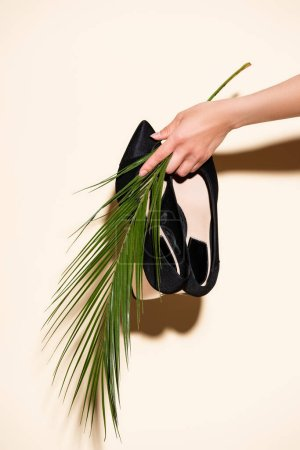 cropped view of woman holding black elegant shoes and palm leaf on beige background