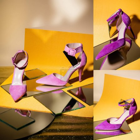 collage of elegant violet suede heeled shoes on mirror and yellow paper