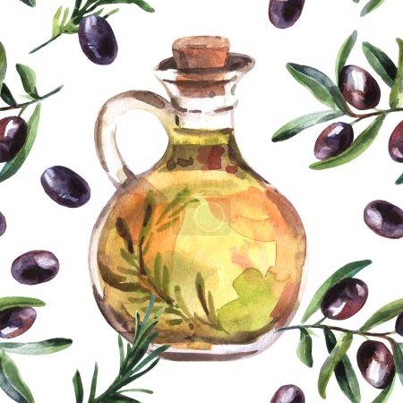 handgezeichnete schöne Aquarell-Illustration Olivenöl.