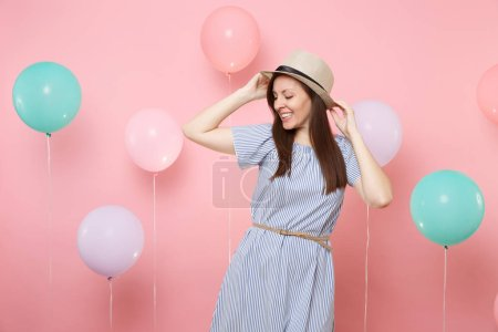 Portrait of joyful tender young woman with closed ...